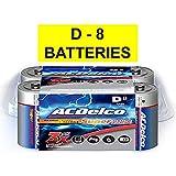 Acdelco D Alkaline Batteries In Reclosable Storage Box, 8 Count