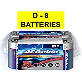 ACDelco D Batteries, Super Alkaline Battery, 8 Count Pack