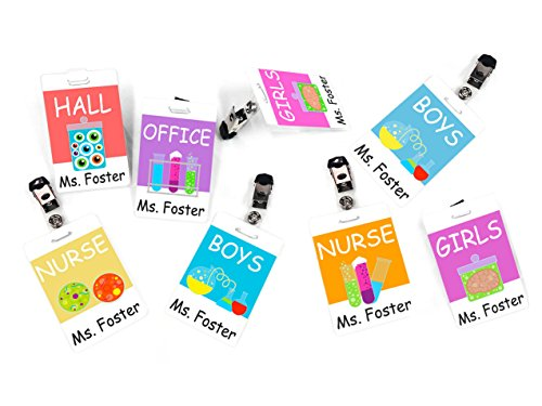(Set of 8 Customized Hall Passes, Colorful Scientist Inspired Theme)
