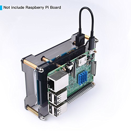 Miuzei Raspberry Pi 3/3 Model B+ Battery Pack Expansion Board, Power Supply with USB Cable, 2 Layer Acrylic Case for Raspberry Pi 3 B+, 3B, 2B by Miuzei (Image #3)