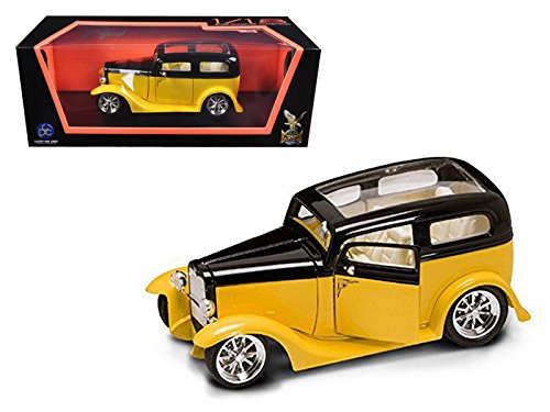 118 Scale Diecast Model - Road Signature 92848Y 1 by 18 1931 Ford Model A Sedan Diecast Model Car44; Yellow & Black