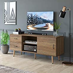 Living Room HOMECHO TV Stand for TVs up to 60″, Mid-Century Modern Entertainment Center with Sliding Door, TV Cabinet with Adjustable Shelves and Drawers, Media Console for Living Room, Rustic Brown modern tv stands