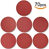 70pcs PSA Sanding Discs 6 Inch, 120/180/240/320/400/600/800 Grit Adhesive Backed for Random Orbital Sander by V-story