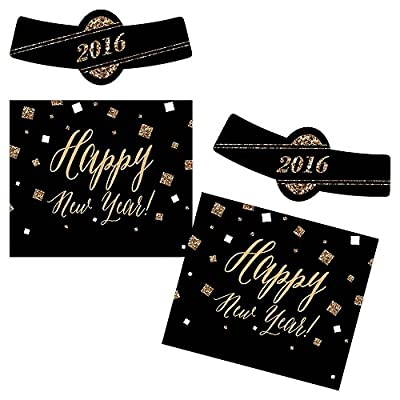 New Years's Eve - Gold - Holiday Personalized Beer Bottle Label Stickers - Set of 6
