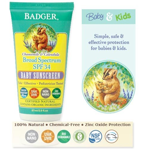 Badger - Baby Sunscreen Cream Broad Spectrum SPF 30 Protection, Chamomile and Calendula Formula  Tube- 2.9 Fl Oz (Pack of 1)