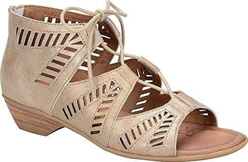 Comfortiva Womens Riley Leather Open Toe Casual Strappy Sandals, Gold, Size 8.0