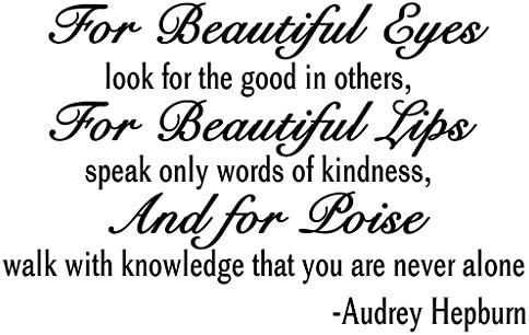 """For Beautiful Eyes"" Audrey Hepburn Quote Decors Wall Saying Decals Quote for Home Wall Stickers Bedroom Decor(1)"