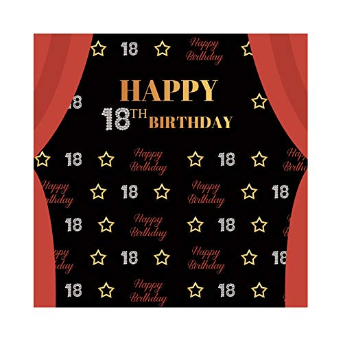 18th Birthday Photo - Yeele 6x6ft Happy 18Th Birthday Backdrop for Photography Diamond Golden Stars Curtain Background Adult Ceremony Party Decoration Banner Boy Girl Photo Booth Shoot Vinyl Studio Props