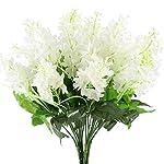 GTidea 4pcs Artificial Wisteria Bundle Fake Flowers Silk Floral Bouquet Arrangements Home Garden Fences Restrant Hotel Parties Wedding Simulation Decor in White