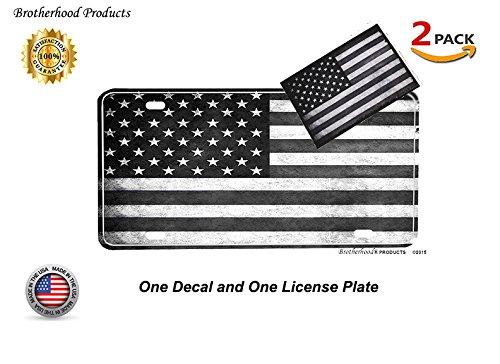 Brotherhood Tactical American Flag License Plate - Black American Flag License Plate for a Firefighter License Plates or Police License Plate & Tactical American Flag Decal ()