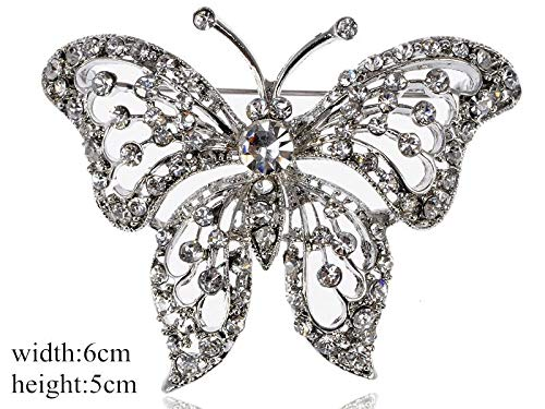 Fashion Rhinestone Crystal Alloy Flower Spider Bouquet Brooch Pin Multicolor | Style - Silver butterfly