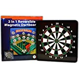 2 in 1 Reversible Magnetic Dartboard (Dart Board) with Standard Darts & Baseball Games