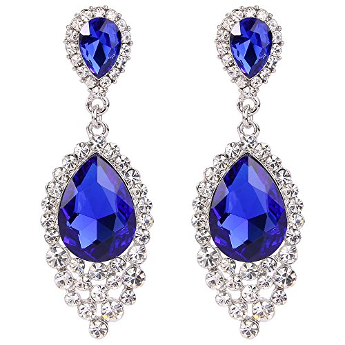 al Dangle Earrings for Women Crystal Teardrop Cluster Beads Chandelier Earrings Royal Blue Sapphire Color Silver-Tone ()