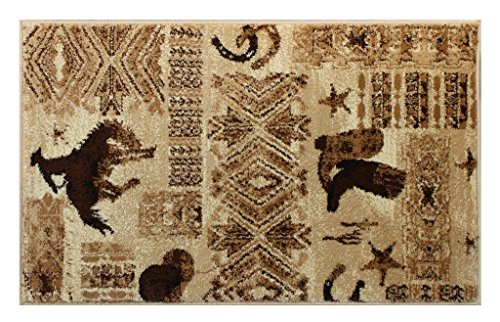 Lodge Bucking Bronco Mat Area Rug Design 385 Beige (2 Feet X 3 Feet 2 Inch) Mat