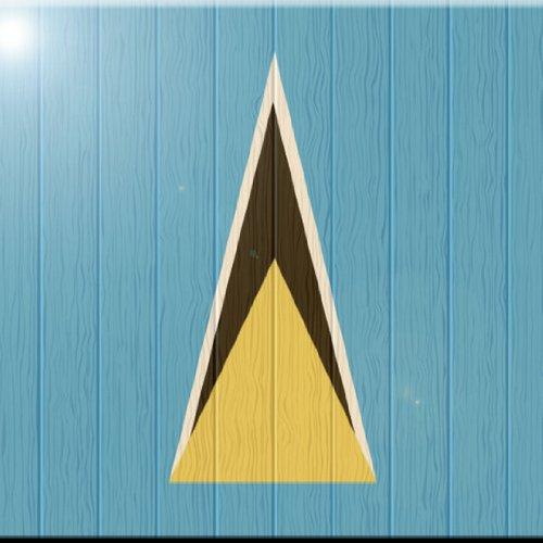 Rikki Knight 12 x 12 Saint Lucia Flag on Distressed Wood Design Ceramic Art Tile