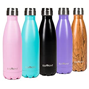 Element Vacuum Insulated Stainless Steel Water Bottle - Gorgeous Gift Box Included - Hot 24 hours - Cold 12 hours - 17 oz (Jet Black)