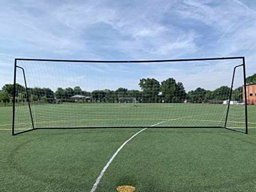 Vallerta® 24x8 Ft Black Regulation Size Soccer Goal w// Weatherproof Net