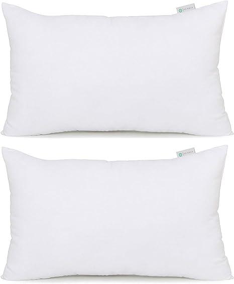 Amazon Com Acanva Down Alternative Throw Pillow Insert Hypoallergenic Rectangle Soft Form Stuffer Decorative Cushion Sham Filler 12 X 20 White 2 Count Home Kitchen
