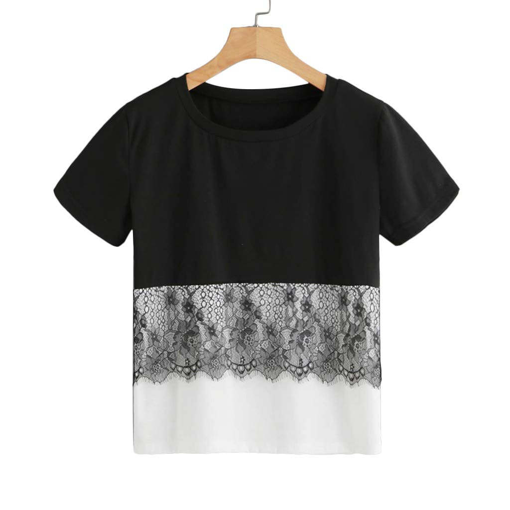 Women's Tops Short Sleeve Lace Patchwork Two Tone T-Shirt Casual Round Neck Blouse (XL, Black)