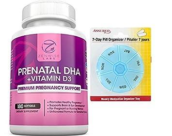 Vitaminas DHA prenatal – con Omega 3 y vitamina D3 EPA 180 cápsulas con gratis 7
