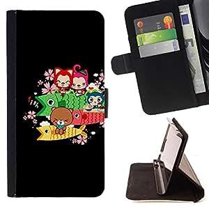 For Sony Xperia Z2 D6502 - Cute Bear Fish Animals /Funda de piel cubierta de la carpeta Foilo con cierre magn???¡¯????tico/ - Super Marley Shop -