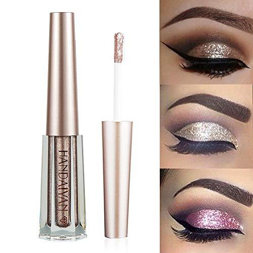 GL-Turelifes Diamond Glitter Liquid Eyeshadow & Eyeliner Pen Starry Sequins Mermaid Eye Shadow Long Lasting Shiny and Pigmented Waterproof Sparkling &Shimmer Eyes Makeup(#10 Coffee)
