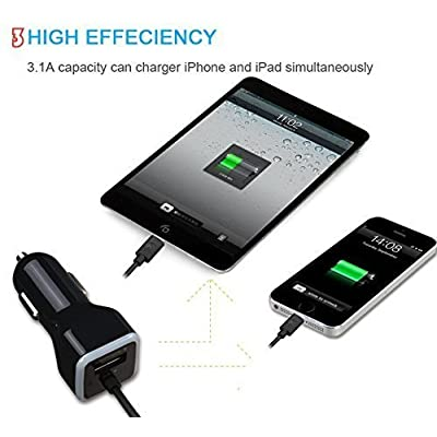 iPhone Car Charger, [Apple MFI Certified] Lighting Car Charger for iPhone X, 8, 8 Plus, 7, 7Plus 6S / 6S Plus, 6, 6 Plus, SE, 5, 5S, iPad Pro, Air 2, Mini 3,with Extra USB Port (Black): Electronics