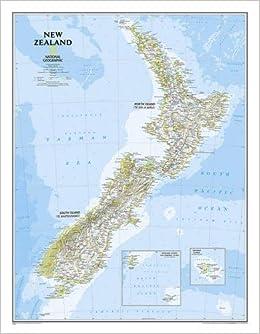 Neuseeland Nordinsel Karte.New Zealand Laminated National Geographic Reference Map Amazon De