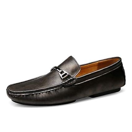 Xiazhi-shoes, Mocasines Hombres Zapatos de Barco de Cuero Genuino Zapatos Blandos Mocasines Planos