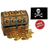"""Nautical Cove Wooden Pirates Treasure Chest Box with a FREE Pirate Flag and Gold Coins (Large 8""""x6""""x6"""")"""