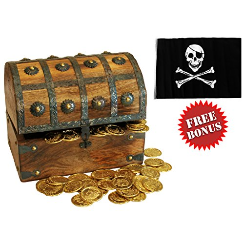 Nautical Cove Wooden Pirates Treasure Chest Box with a FREE Pirate Flag and Gold Coins (Large - Box Pirate Toy