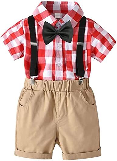 Conjunto de Trajes de Dos Piezas para Niños, Camisa de Manga Corta a Cuadros + Shorts de Tirantes, 2-7 Años #230 (Color : Red, Size : 4years): Amazon.es: Ropa y accesorios