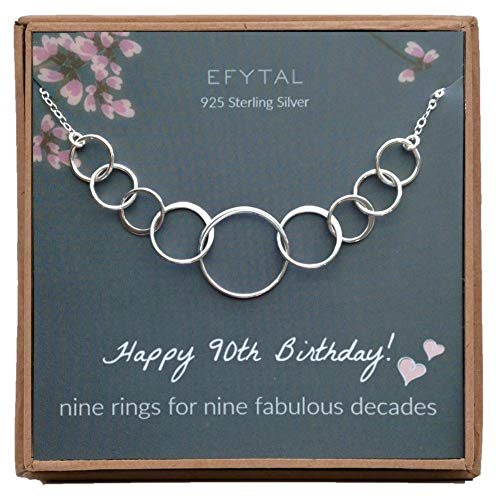 Sterling Silver 90th Birthday Circle Necklace - 9 Rings for 9 Decades