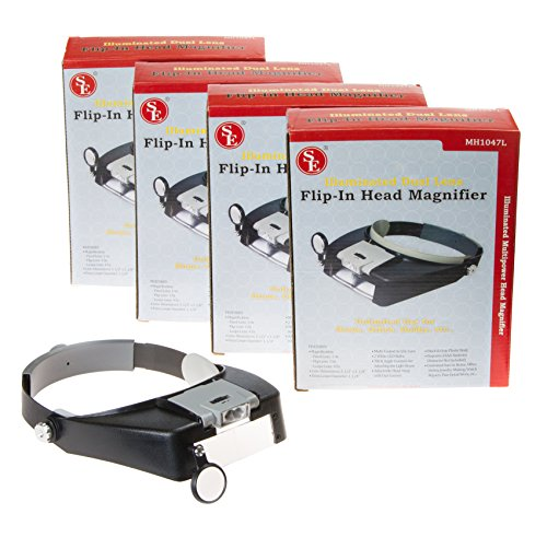 SE Illuminated Dual Lens LED Flip-In Head Magnifiers (Pack of 4) (Se Mh1047l Illuminated Multi Power Led Head Magnifier)
