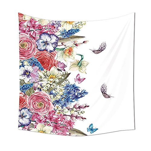 Flower Tapestry Decor Vintage Vivid Wreath with Daffodils Hyacinths Chamomile Lilies Butterfly Picture Wall Hanging for Bedroom Living Room Dorm Pink Blue