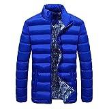 Muranba Men Winter Warm Down Coat Slim Thick Casual Outerwear Parka Jacket 4 Color (L, Sky Blue)