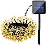 Qedertek 22ft 50 LED Solar Christmas String Lights Waterproof Garden Decorations, Solar Flower lights Indoor/Outdoor Decoration for Patio, Lawn, Christmas, Holiday and Festivals ( Warm White)