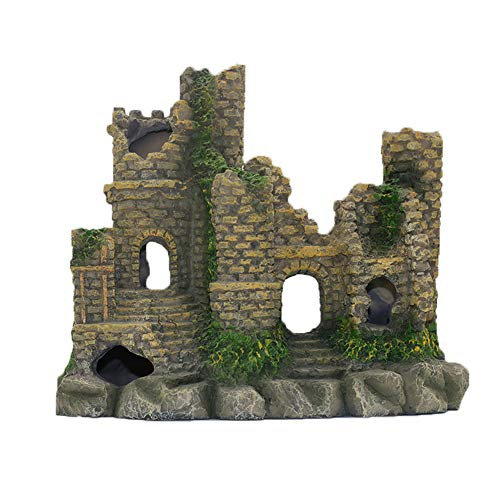 Ancient Castle Cave Resin Roman Column Aquarium Decorations Fish Tank Rock Ruins Plants Decor Aquarium Decoration Ornaments Castle One Size