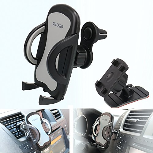 Car Phone Mount,OHLPRO 2-in-1 Phone Holder Car Air Vent Universal Stick on Dash Dashboard Mount 360°Rotating Adjustable for iPhone Samsung Sony Google All 4