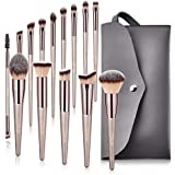 BESTOPE Makeup Brushes Set With Tapered Handle & Case Bag Professional Champagne Gold Premium Synthetic Kabuki Foundation Blending Face Powder Blush Eyeshadow Makeup Brush Kit (14 Pieces)