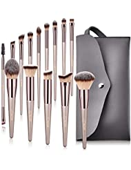 BESTOPE Makeup Brushes, Tapered Handle Series Professional Premium Synthetic Makeup Brush Set Kit With Case Bag for Blending Foundation Powder Blush Eyeshadow (14 Count)