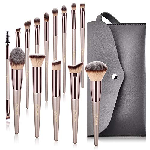 (BESTOPE Makeup Brushes, Tapered Handle Series Professional Premium Synthetic Makeup Brush Set Kit With Case Bag for Blending Foundation Powder Blush Eyeshadow (14 Count))