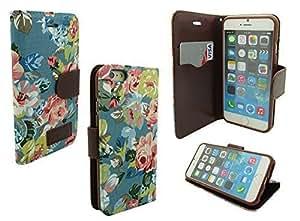 IPHONE 6 WALLET CASE, MOBILE KING USA iPhone 6 (4.7) INCH SCREEN Jean Leather Wallet Credit Card Case Holder (Light Blue Denim Floral) WANGJING JINDA
