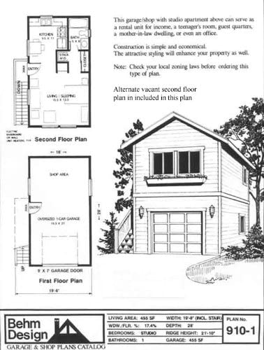 Garage Plans One Car Two Story Garage With Apartment Outside Stair Plan 910 1 Amazon Com