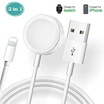 Hoidokly Apple Watch Cargador, 2 en 1 iWatch Cable para Apple Watch Series 4/3/2/1,Cable de Carga portátil para i Phone X Series /6/7/8series / i Pad ...