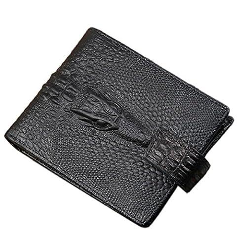 Fadsace Men's Genuine Cowhide Leather Alligator Head Crocodile Trifold Wallet (Black)