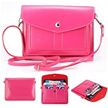 Universal Fashion Soft PU Leather Cell Phone Bag Purse Case Cross Body Wallet Pouch with Shoulder Strap & ID Cards Holders for Carrying iPhone6s/6s plus/6/6 Plus/5s and Samsung Series Phones(Plum)