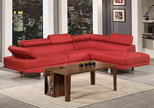 1PerfectChoice Contemporary Modern 2 PCS Living Room Sectional Sofa Carmine Red Blended Linen