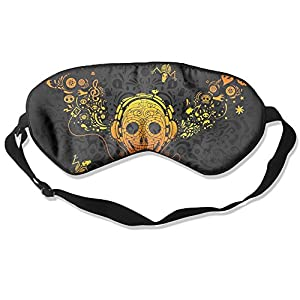 Rock Head Skull Sleep Eye Mask 100% Mulberry Silk Blindfold Travel Sleep Cover Eyewear