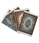 Set of 4 Rug Mouse Pads | Oriental Turkish Design | Miniature Carpet Mats (Set-1)